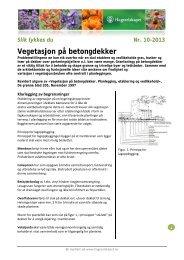 Vegetasjon på betongdekker - Hageselskapet