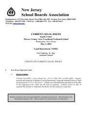 Current Issues Update - New Jersey School Boards Association