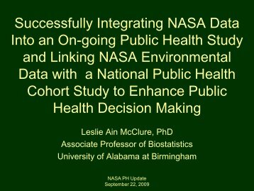 Successfully Integrating NASA Data Into an On-going Public Health ...
