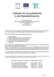 Leitfaden für Auszubildende - Bundesverband Deutscher Bestatter ...