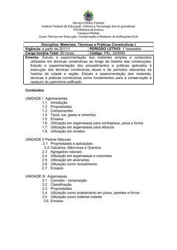 Disciplina: MATERIAIS, TÉCNICAS E PRÁTICAS CONSTRUTIVAS I
