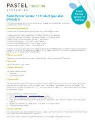 Pastel Partner Version 11 Product Specialist (Module 4) - Sage Pastel