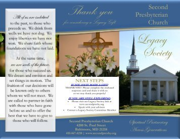 Legacy Society Brochure - Second Presbyterian Church