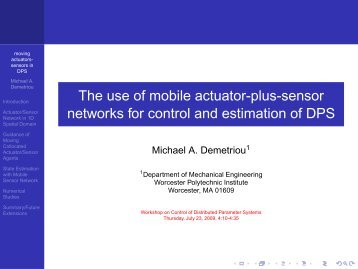 The use of mobile actuator-plus-sensor networks for control and ...