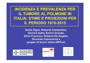 incidenza e prevalenza per il tumore al polmone in italia