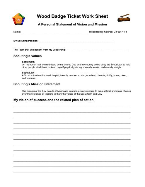 Wood Badge Ticket Work Sheet - SE Wis Training