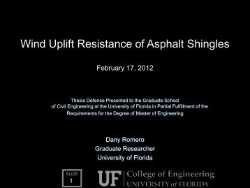 UF Project 90100 - Dany Romero Thesis Presentation (Masters)
