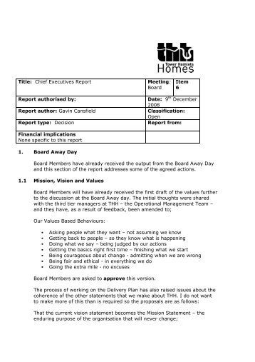 Item 6 Chief Executive Report - Tower Hamlets Homes