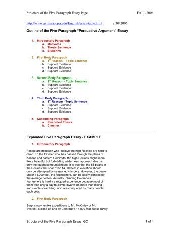 ... five paragraph essay arch ttu edu outline of the five paragraph essay