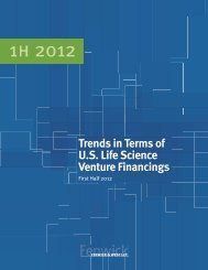 Life Science Financing Survey First Half 2012 - TechLaw Group