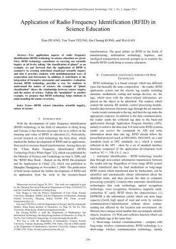 Application of Radio Frequency Identification (RFID) in Science ... - ijiet