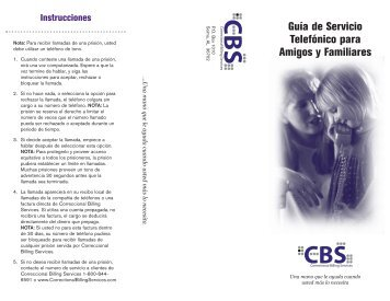 Guía de Servicio Telefónico para Amigos y Familiares