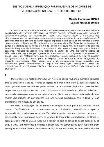 ensaio sobre a imigração portuguesa e os padrões ... - IFCS - UFRJ