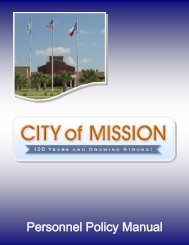 Personnel Policy Manual - City of Mission