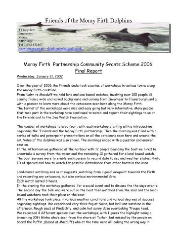 Friends of the Moray Firth Dolphins - Moray Firth Partnership