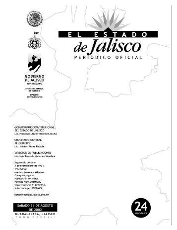 VIII - Periódico Oficial El Estado de Jalisco - Gobierno del Estado de ...