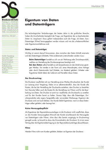 Eigentum von Daten und Datenträgern - Druckerei AG Suhr
