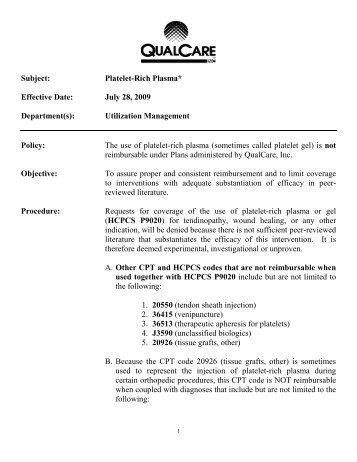 Platelet-Rich Plasma (rvwd 2012) - QualCare Inc.