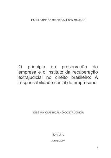 O princípio da preservação da empresa eo instituto ... - Milton Campos