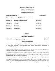 SUMMATIVE ASSESSMENT- I SAMPLE PAPER/CLASS IX English ...