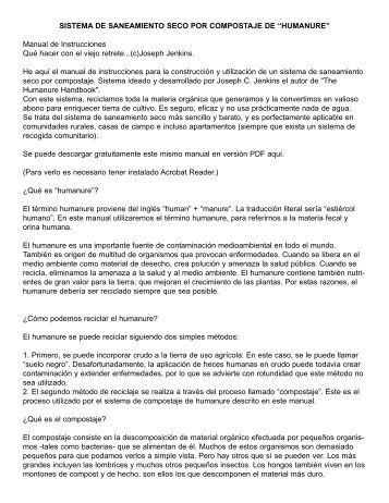 Humanure Toilet Instruction Manual in Spanish - Joseph Jenkins, Inc.