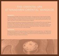 THE ORIENTAL SPA AT MANDARIN ORIENTAL, BANGKOK