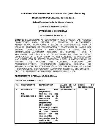 Calificacion Propuestas Invitacion Publica No. 034 de 2010