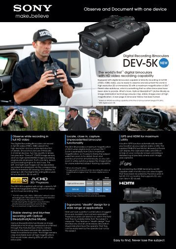 Sony DEV-5K product flyer (0.87 MB) - Creative Video