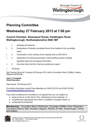 Agenda and Reports - Planning Committee - 27 February 2013