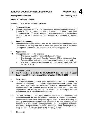 Committee Report Template   March 09   Wellingborough Borough .