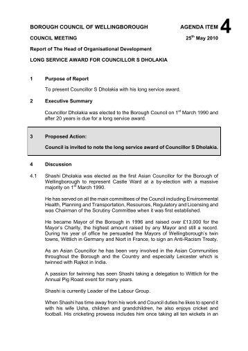 Committee Report Template  November   Wellingborough