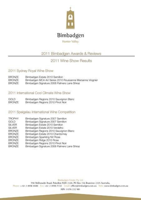 Download Bimbadgen's 2011 Wine Show Results - Bimbadgen Estate