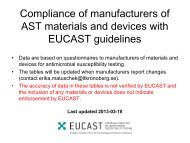 Preparedness of Manufacturers EUCAST susceptibility testing 2010 ...
