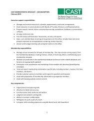 CAST ADMINISTRATIVE SPECIALIST – JOB DESCRIPTION ...