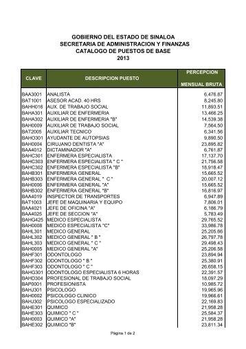 tabulador de sueldos de personal de base - Gobierno del Estado de ...