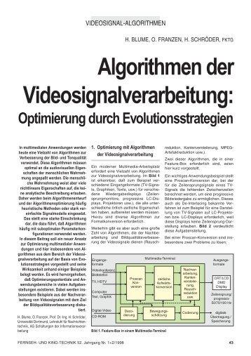 Algorithmen der Videosignalverarbeitung: Optimierung durch ...