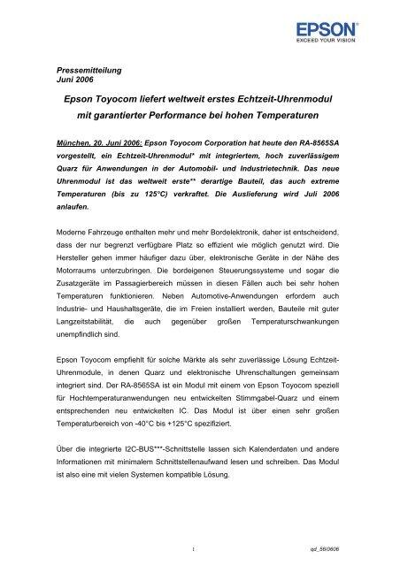 EPSON EUROPE ELECTRONICS GmbH, Riesstr - Channel ...