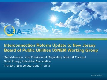 Interconnection Reform Update to New Jersey Board of ... - SEIA
