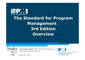 The Standard for Program Management – 3rd Edition ... - PMI-NIC