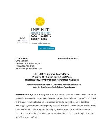 2011 INFINITI Summer Concert Series Presented by ROLEX South ...