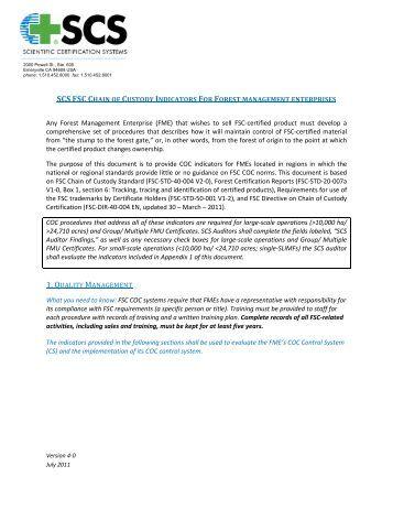 scs fsc chain of custody indicators for forest management enterprises