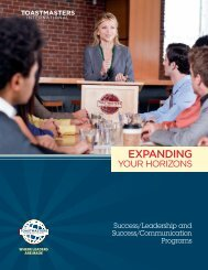 Expanding Your Horizons - District 25 Toastmasters