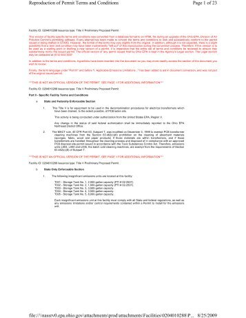 Page 1 of 23 Reproduction of Permit Terms and Conditions 8/25 ...
