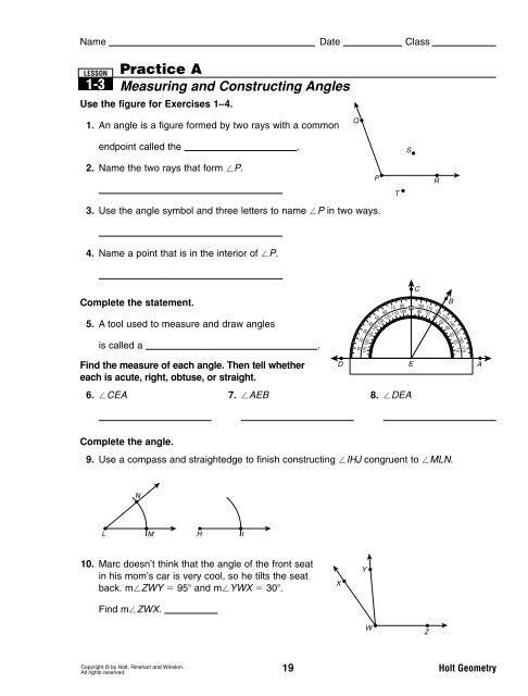 Section 1 3 Practice Worksheets