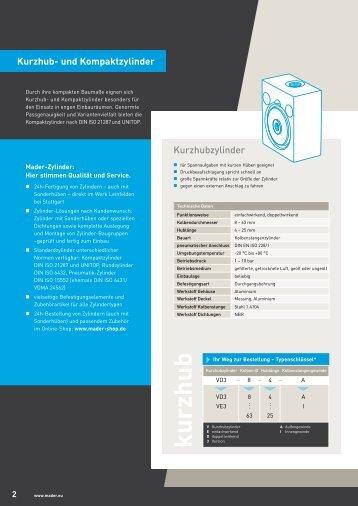 Katalogbroschüre Kurzhub- & Kompaktzylinder - Mader
