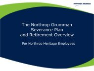 Severance and Northrop Heritage Retirement ... - Benefits Online