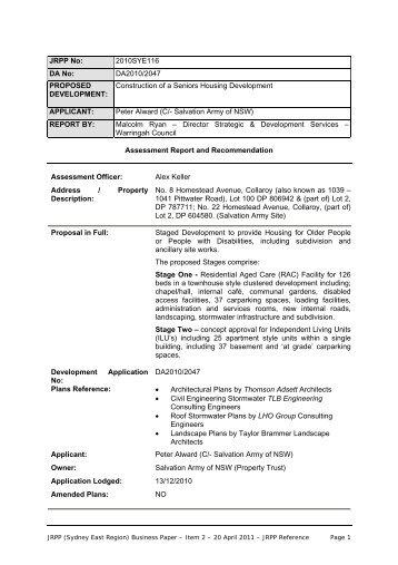 JRPP No - Warringah Council - NSW Government