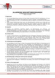 Allgemeine Geschaeftsbedingungen Meta System Deutschland ...