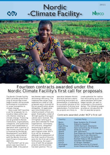 Thematic Newsletter NCF First Call - Nordic Development Fund