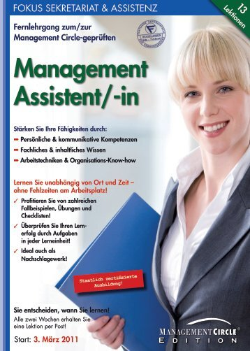 Fernlehrgang: Der/die Management Assistent/-in - Management ...